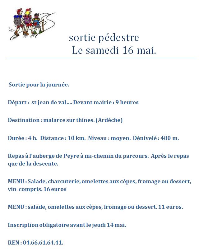 Sortie p destre samedi 16 mai saint jean de valeriscle for Le divan 05 mai 2015