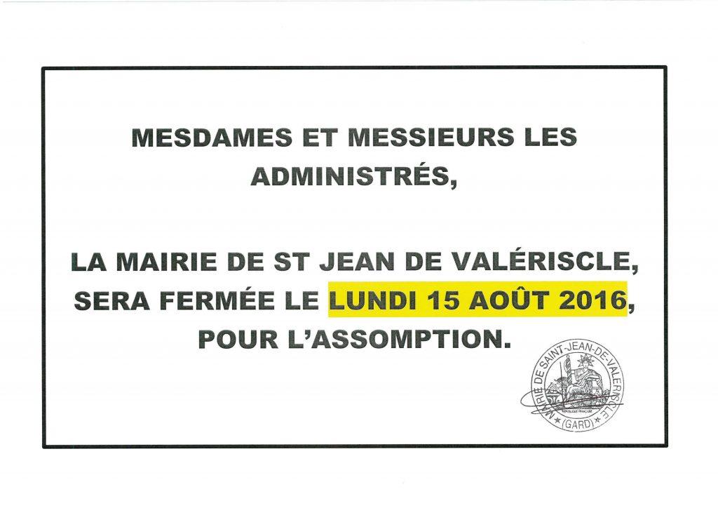 Fermeture Mairie pour 15 août 2016_01