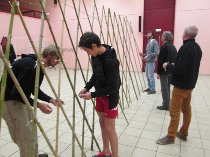 Premier travail : calibrage et assemblage des bambous