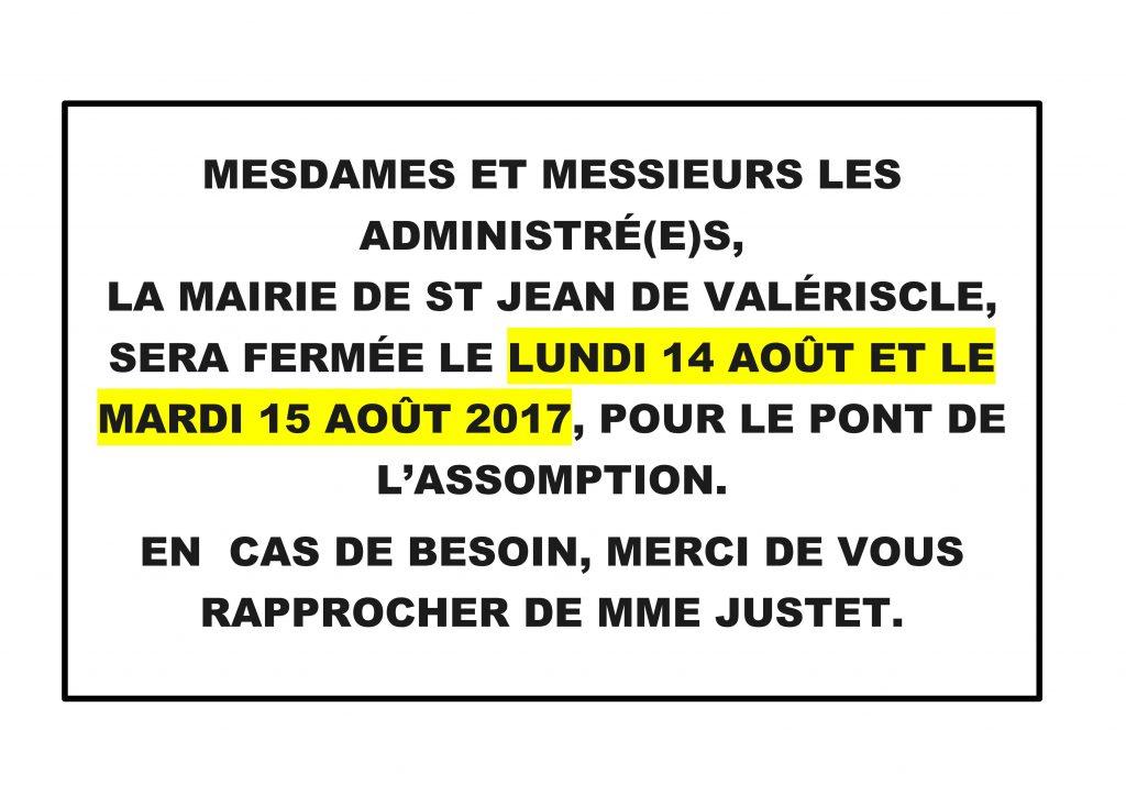 Fermeture mairie PONT DU 15 AOÛT 2017_01
