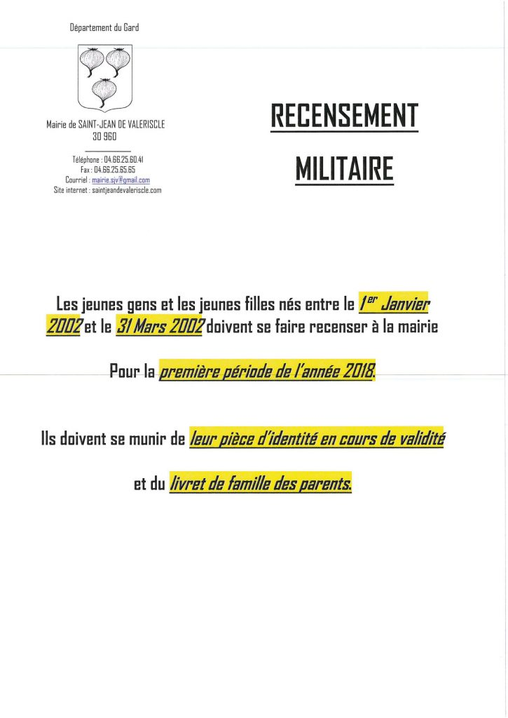 RECENSEMENT MILITAIRE 1er PERIODE 2018_01