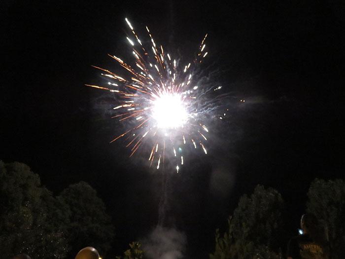 A la nuit tombée, rouges, verts ou bleu, les feux d'artifice ont illuminé la place du village