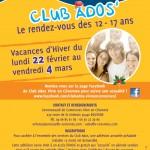 PROGRAMMATION CLUB ADOS – VACANCES D'HIVER