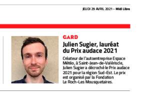 Julien Sugier, météorologue saint-jeannais, Prix Audace 2021