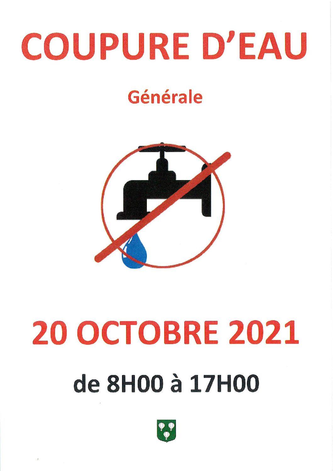 Coupure d'eau le  Mercredi 20 Octobre de 8h à 17h