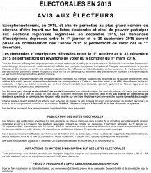 RÉVISION EXCEPTIONNELLE DES LISTES ÉLECTORALES EN 2015