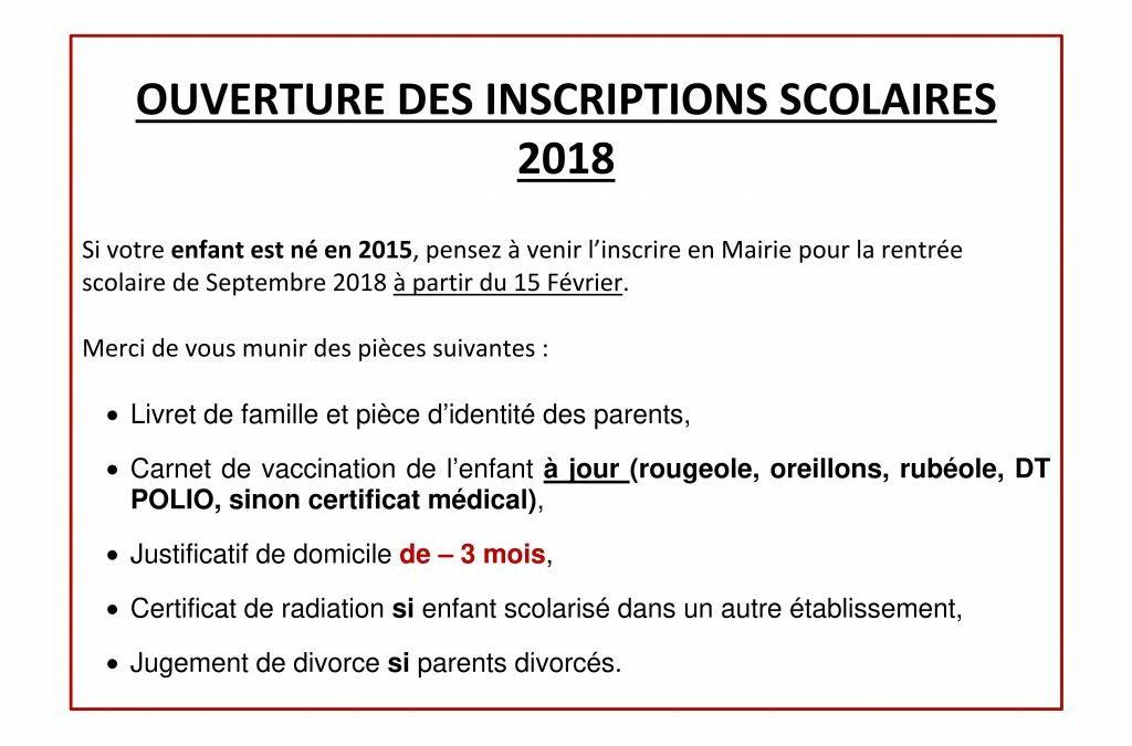 OUVERTURE DES INSCRIPTIONS SCOLAIRE 2018