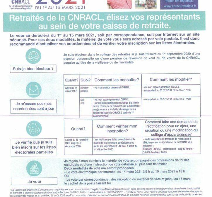 Elections des représentants de la Caisse Nationale de Retraites des Agents des Collectivités Locales2021