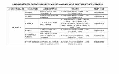 LIEUX DE DÉPÔT DES DOSSIERS DE DEMANDE D'ABONNEMENT AUX TRANSPORTS SCOLAIRES NTECC