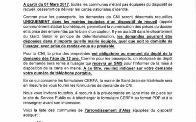 NOUVELLE PROCÉDURE DÉLIVRANCE DES CARTES NATIONALES D'IDENTITÉ