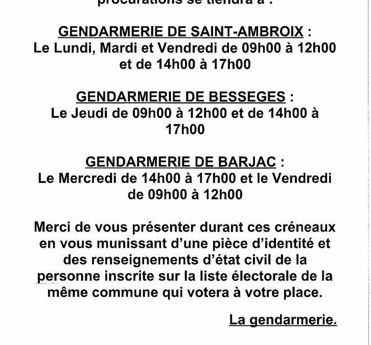 PERMANENCE POUR ÉTABLIR LES PROCURATIONS DES LÉGISLATIVES