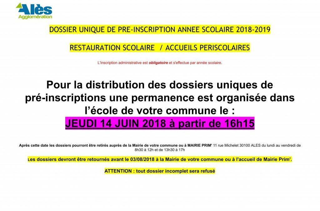 PERMANENCE DOSSIER PRÉ-INSCRIPTION P@SS 3.17 Á L'ÉCOLE