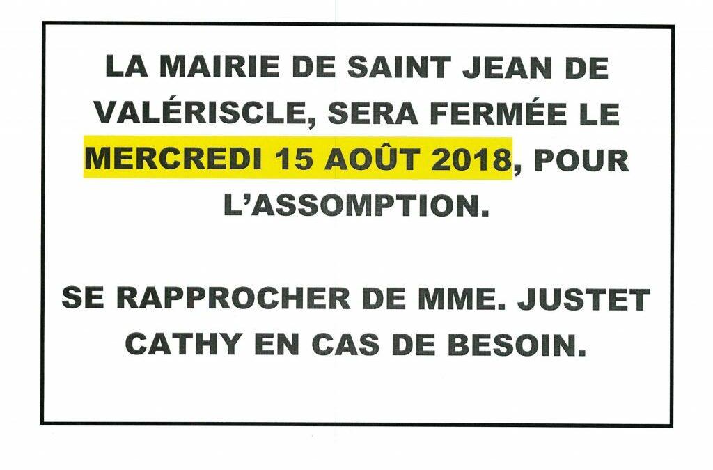 PERMANENCE DU MERCREDI 15 AOÛT 2018