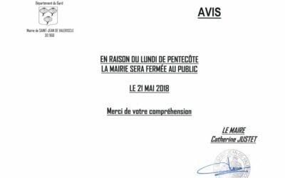 FERMETURE MAIRIE LUNDI DE PENTECÔTE 2018