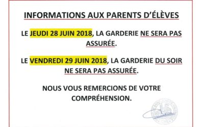 INFORMATIONS AUX PARENTS D'ÉLÈVES