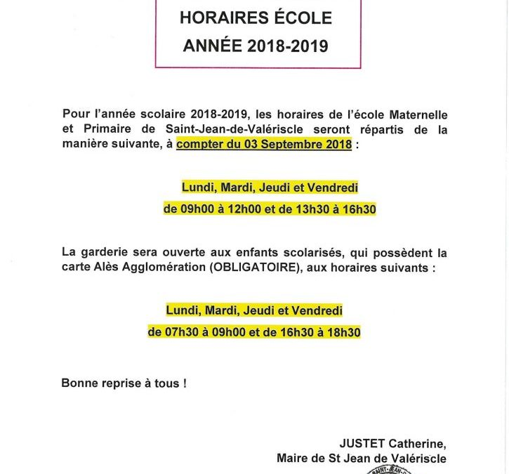 HORAIRES ECOLE / GARDERIE ANNÉE 2018-2019