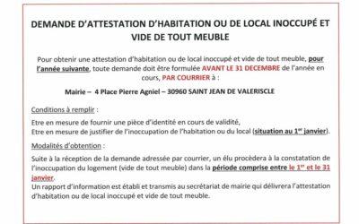 RAPPEL – ATTESTATION D'HABITATION OU DE LOCAL INOCCUPÉ ET VIDE DE TOUT MEUBLE