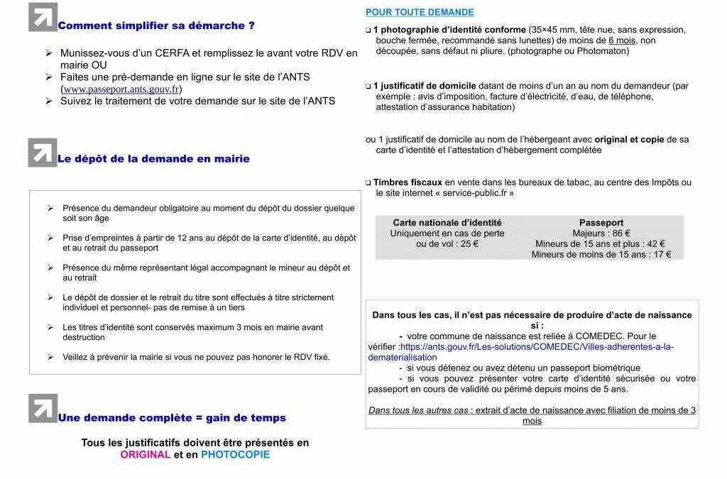 RAPPEL PROCÉDURE CNI/PASSEPORT